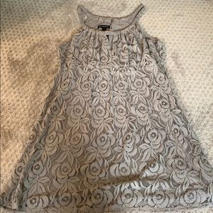 Gray lace dress with peephole